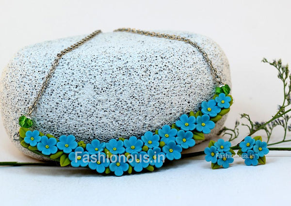 Sky Blue Floral Mini Collar Set-ZAPCNS-028