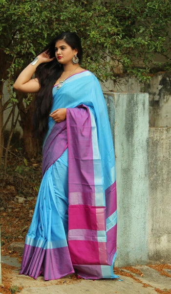 Sky Blue Linen Saree-LN204