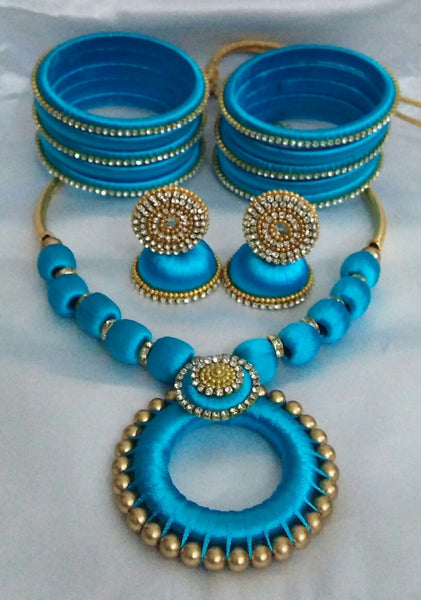 Sky Blue Silk Thread Jewellery Set
