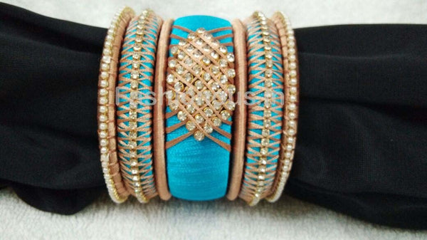 Sky Blue Stone Worked Silk Thread Bangle Set-STJSW-041