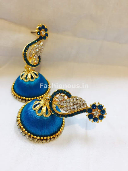 Sky Blue and White Stone Studded Peacock Neck Floral Silk Thread Jhumkas-STJH-046