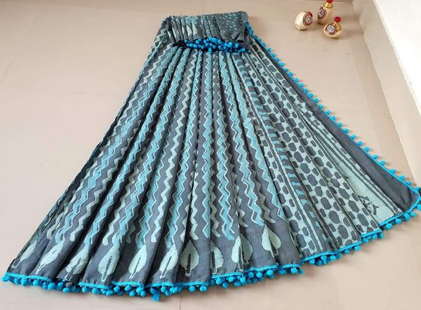 Sky Blue with Grey Print Jaipuri Cotton Saree
