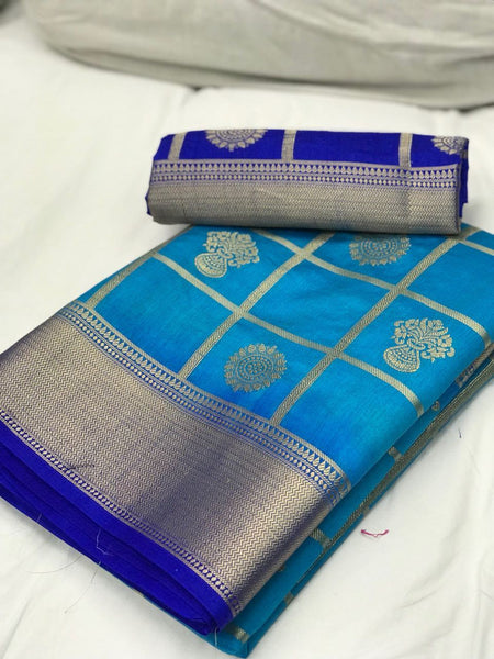 Sky Blue with Ink Blue Border Banarasi Silk Saree-SRE-1102 blue coloured traditional saree