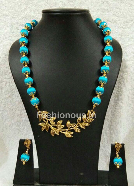Sky Blue with Leaf Pendant Silk Thread Jewellery Set-STJSW-085