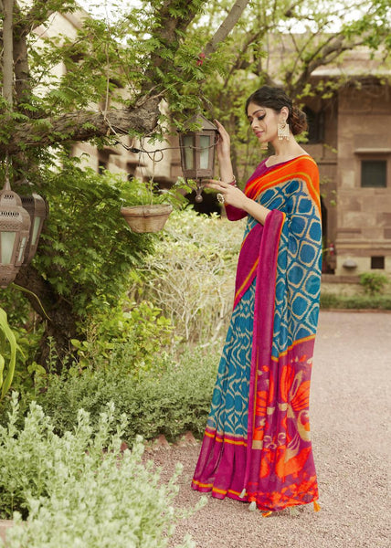 Sky Blue with Pink Border Jute Saree- JS009