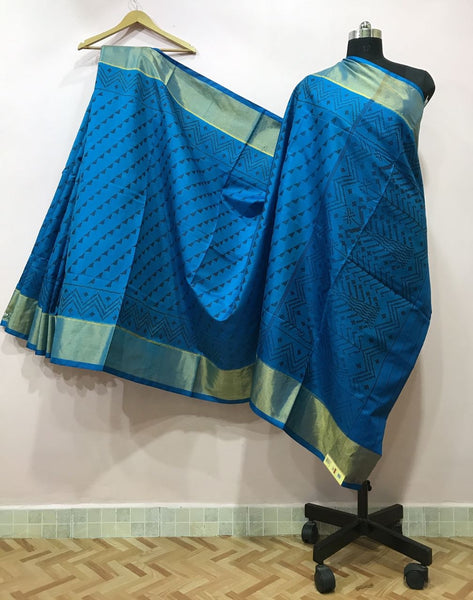 Light Blue Small Traingular Designed Patola Silk Saree-PPSRE-016