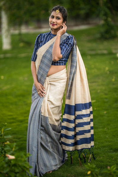 Buttermilk Blush Silk Cotton Saree COTTONSRE004 Cream and blue coloured partywear cotton silk saree