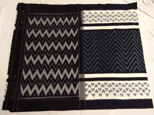 BLack and White magic Soft Mercerized Ikat Cotton Saree-003 Black and white coloured lightweight
