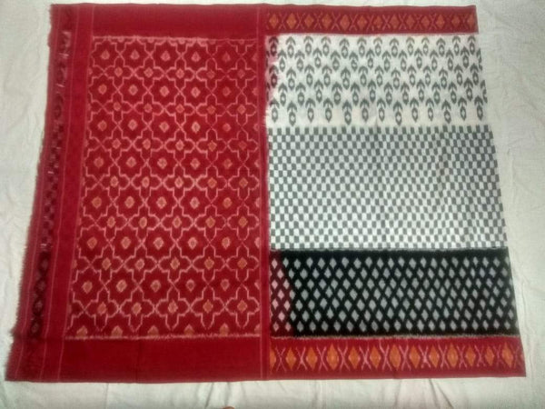 Desi Diva Soft Mercerized Ikat Cotton Saree-004 White and maroon coloured traditional saree