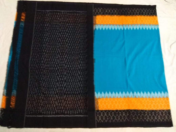 Sunset Sky Soft Mercerized Ikat Cotton Saree-007 Light blue and black coloured regular use saree