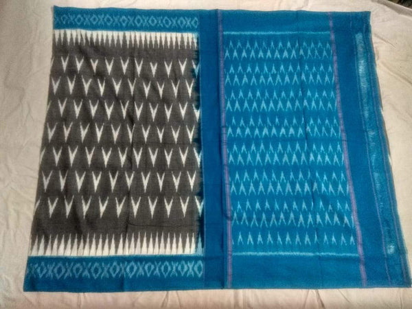 Silver Sky Soft Mercerized Ikat Cotton Saree-010 Blue and black traditional printed saree