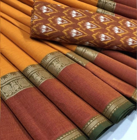 Chettinad Cotton Saree with Kalamkari Blouse-030