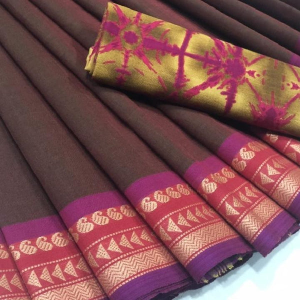 Amber Kiss Chettinad Cotton Saree with Kalamkari Blouse-022