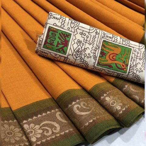 Chettinad Cotton Saree with Kalamkari Blouse-029