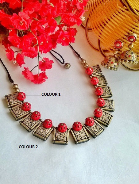 Square Neck Terracotta Jewellery set