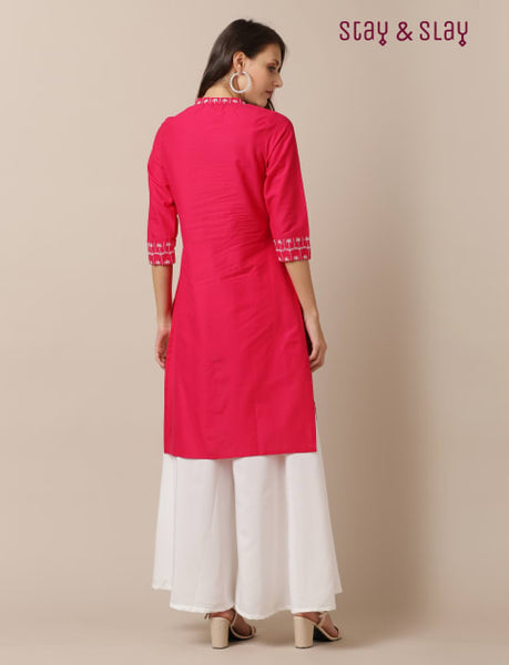Cambric Embroidered Work Straight Kurti for Women Fuschia
