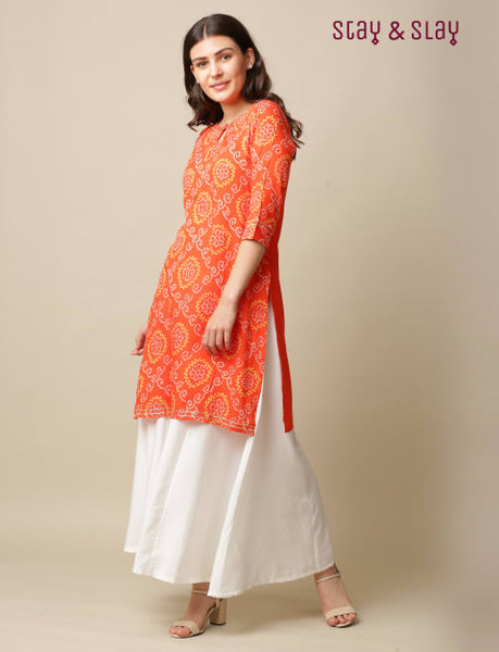 Rayon Bandhej Print Straight Kurti for Women Orange