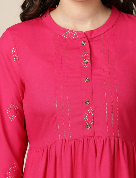 Moss Crepe Mukaish Foil Print Kurta / Indo-Western Dress for Women Fuchsia