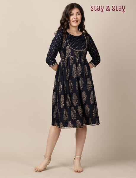 Rayon Gold Foil Print A-line Skater Fit & Flare Dress for Women Navy Blue