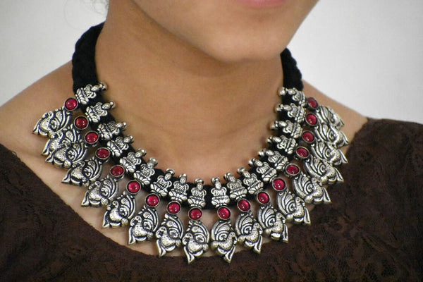 Stone Threaded Temple Necklace-STTJS015