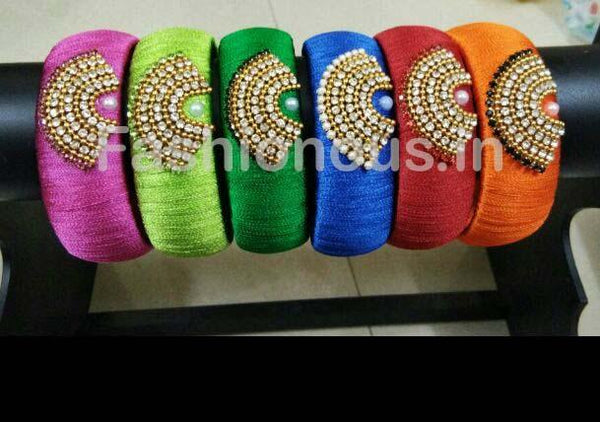 Stone Worked Colorfull Silk Thread Single Bangle-STJSW-059
