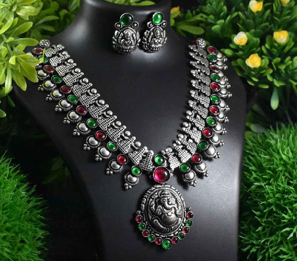 Stone Worked Temple Jewellery Set-SWTJS001