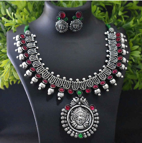 Stone Worked Temple Jewellery Set-SWTJS004