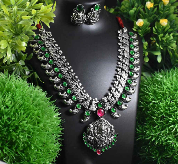 Stone Worked Temple Jewellery Set-SWTJS005