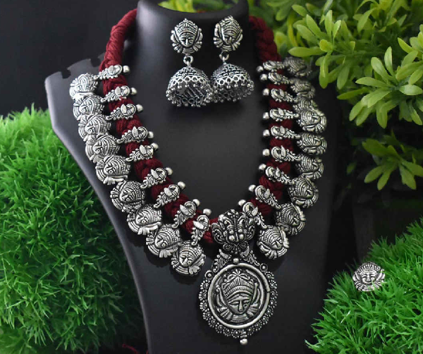 Stone Worked Temple Jewellery Set-SWTJS008