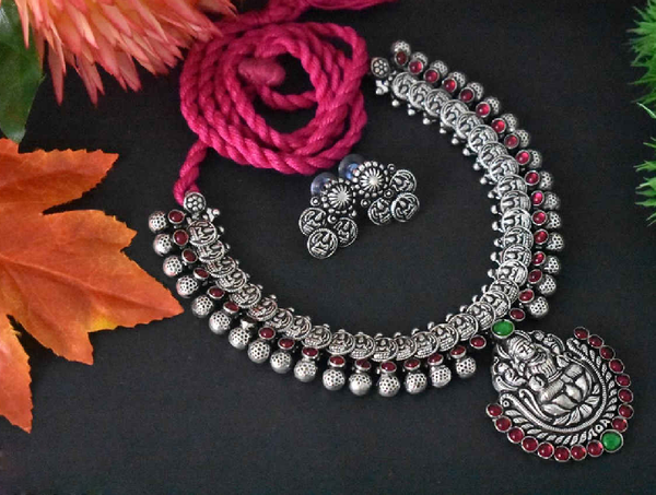 Stone Worked Temple Jewellery Set-SWTJS010