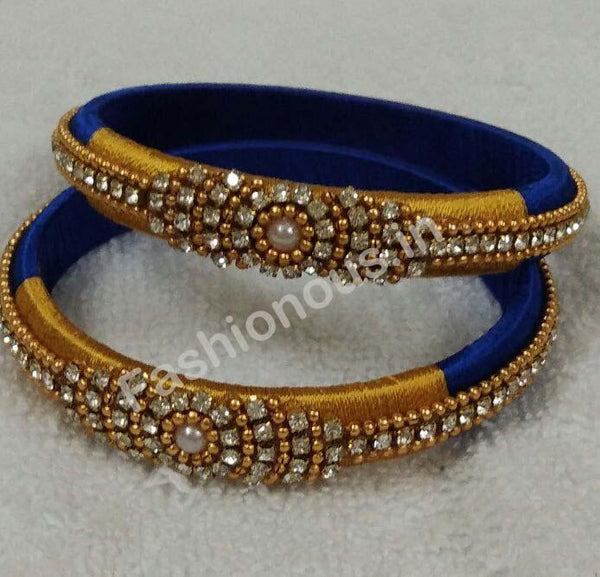 Stone and Bead Worked Blue and Golden Silk Thread Bangle Pair -STJSW-028