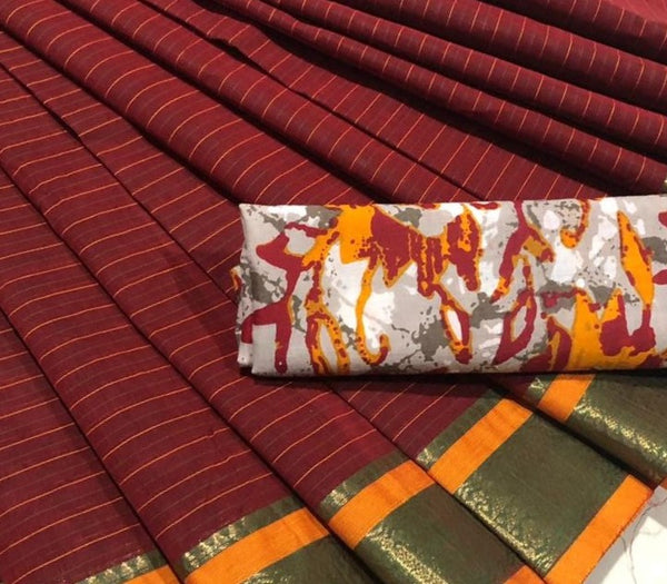 Striped Maroon Cotton Saree