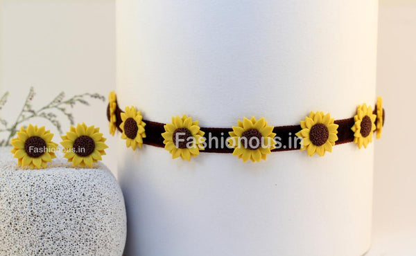 Sunflower Choker and Studs-ZAPCNS-026