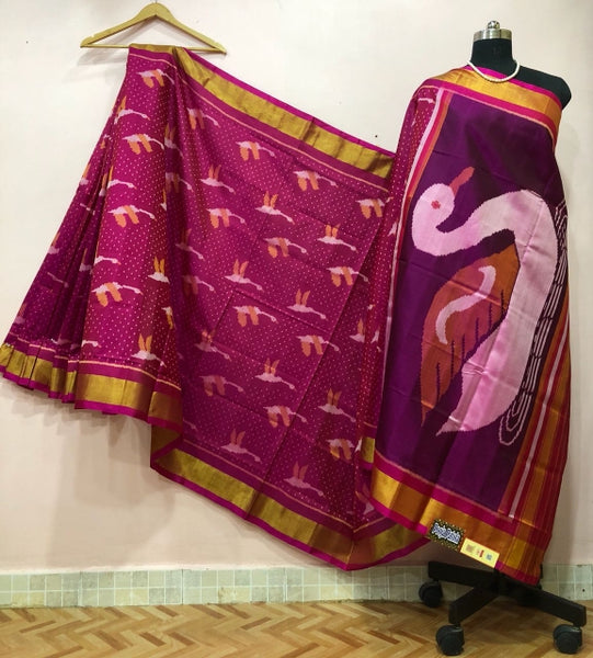 Purple with Swan Designed Patola Silk Saree-PPSRE-034