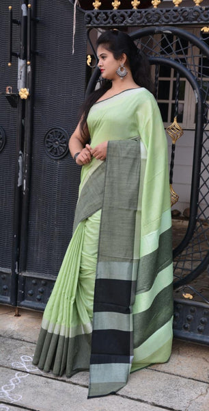 Sweet Mint Linen Saree-LN205