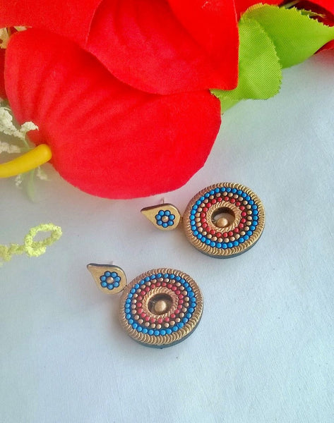 Swirling Blue Terracotta Earrings