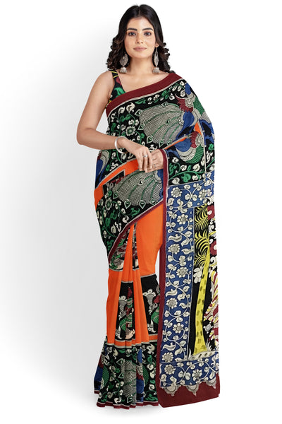 Multicoloured Oriental  Bird Hand-Painted Chennur Silk Kalamkari Saree