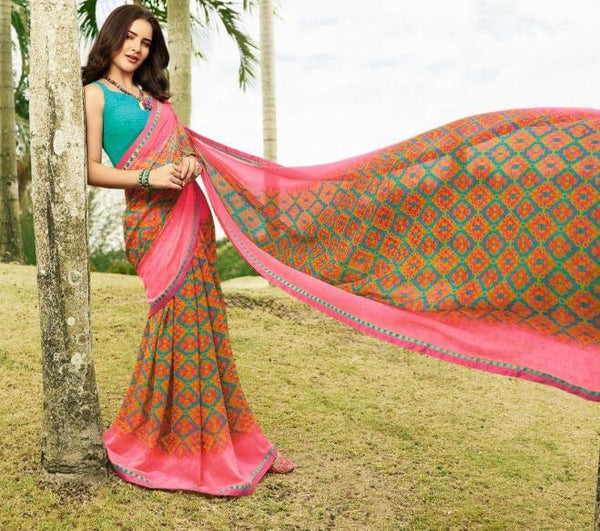 Teal-Pink Georgette Saree