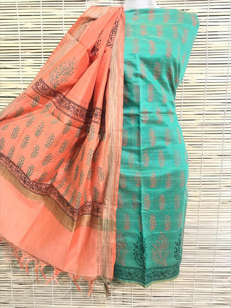 Teal With Peach  Dupatta  Unstitched Salwar Suit