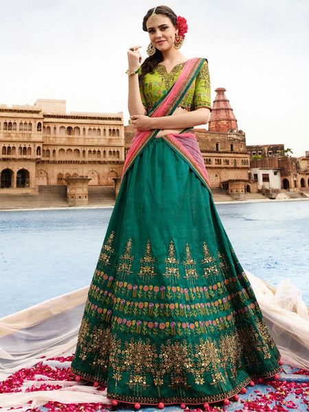 Teal Green with Pink Floral Embroidery Banglori Silk Lehenga-LKELG-008