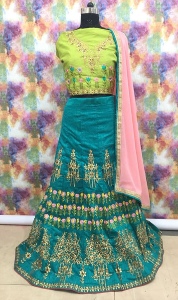 Teal Green with Pink Floral Embroidered Banglori Silk Lehenga