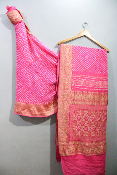 Traditional Baby Pink Bandini saree