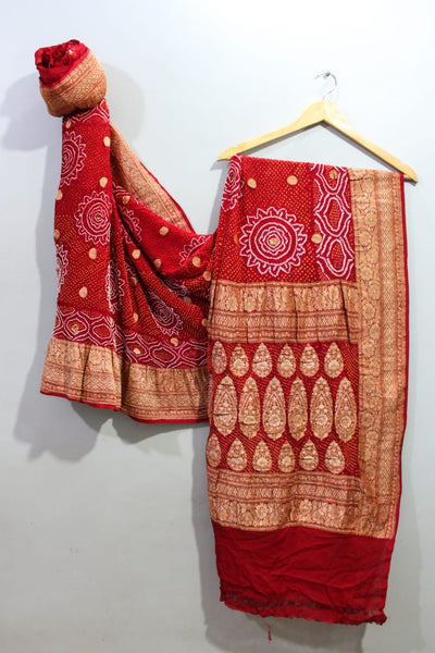 Traditional Bright Red Bandhini Saree