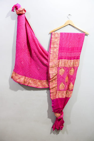 Traditional Dark Pink Bandhini Saree