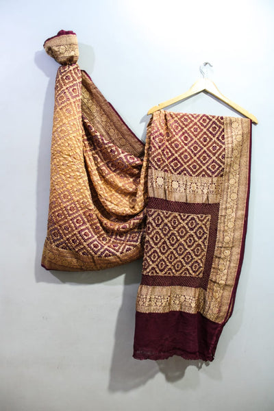 Traditional Golden Maroon Bandhini Saree