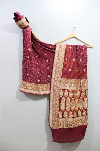 Traditional Royal Maroon  Bandhini Saree