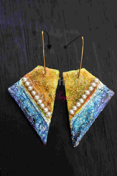 Trapezium Festive Paprika  Earrings