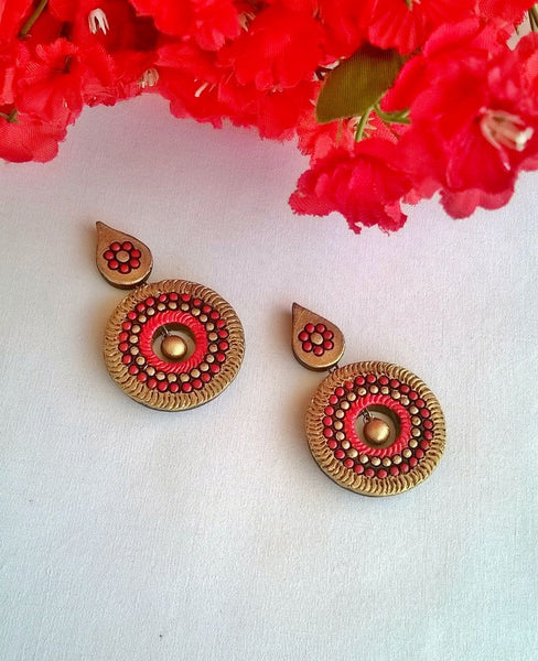 Trendy Red Terracotta Earrings