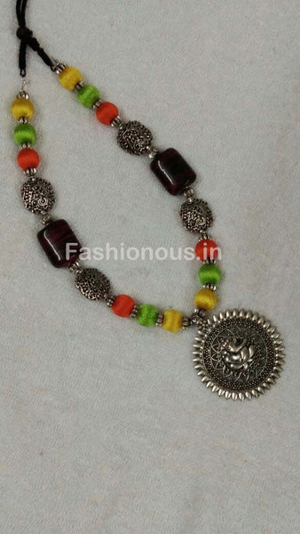 Tricolor Silk Thread Beads with Silver Ganesh Oxidised Pendant-OXDJSW-026