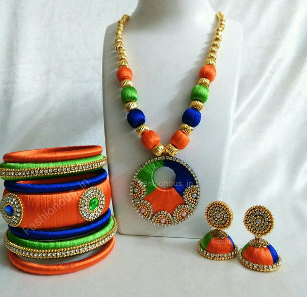 Tricolour Circle Silk Thread Jewellery Set
